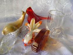 6 db Muránói üvegből készült figura és 1 db kristályváza csak egyben
