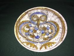 Iparművész kerámia falitányér bagoly motívummal