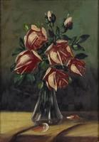 0O433 Ismeretlen festő : Rózsák vázában