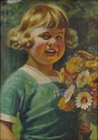 0O435 Ismeretlen festő : Kislány portré