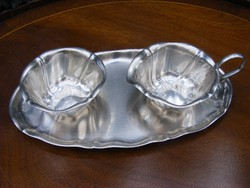 WMF ezüstözött teás vagy kávés kiegészítő szervírozó készlet, 3 darabos, cukortartó, kiöntő és tálca
