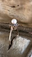 Gyémánt-igazgyongy 14K-is arany gyűrű 18mm átmérős