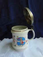 Hollóházi porcelán fedeles sörös korsó