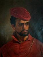 Antik festmény: Bordó ruhás férfi