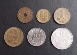 6 db jugoszláv pénzérme - ezüst is