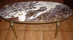 Onix ovális asztal rézlábon Ónix