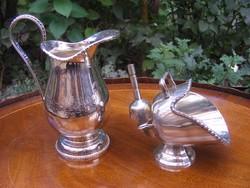 Fantasztikus ezüstözött, antik tea vagy kávé szervírozó készlet, egy különleges fazonú cukortartóval