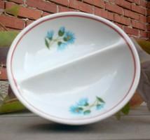 Régi IRIS Cluj osztott kék virágos porcelán sótartó