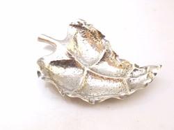 Ezüst levél kínáló,ékszertartó tálka.