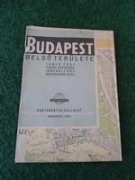 Budapest Térkép, Budapest Belső Területe térkép 1957, Villamos és busz viszonylatokkal