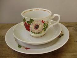Ritka orosz porcelán rózsás,irizáló mázas reggeliző készlet 3db-os