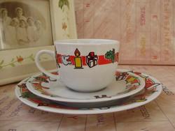 Retro porcelán karácsonyi mintás gyermek reggeliző készlet 3db-os
