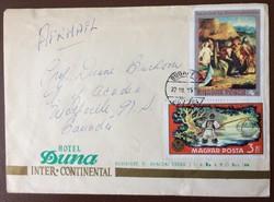 Hotel Duna Inter-Continental boríték vadászati kiállítás és festmény bélyegekkel