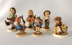 Hummel Goebel Gyűjtemény 6 figura TMK3 TMK4 kitűnő Almafán ülő Csirkés kislány Világ vándor Iskolás
