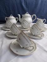 Zsolnay barokk  6sz teás készlet aranytollazott 2