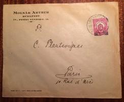 1931-ben futott boríték kisegítő bélyeggel, 8 fillér felülnyomva 6 fillérre