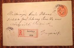 Ovális díjjegyű krajcáros boríték 1898-ból