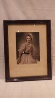 Üvegezett antik képkeret Csabai Kispest műtermi fotóval falc 39x29 cm