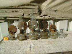 Petróleum lámpa - hat darab - hiányosak, sérültek
