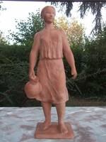 Somogyi A. 1955 Leány korsóval terrakotta figura,szobor