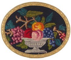 0O487 Régi gobelin vegyes gyümölcs csendélet