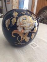 Echt Kobalt duci váza arany-fehér rózsával 14cm magas.