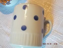Zsolnay kék pettyes csésze szoknyás régi