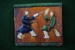 Régi kínai falicsempe dísz, harcművészet.