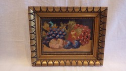 Üvegezett arany-fa képkeret gobelinnel , falc 11x15 cm