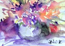 Virágok vázában.ACEO art.Kiemelkedően szép miniatűr a nemzetközileg is elismert művésztől!