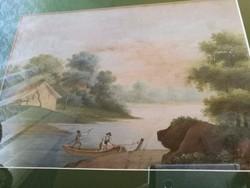 Telepy Károly - Tájkép alakokkal XIX századi mestermű