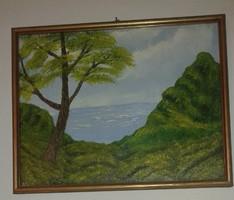 A sziget olajfestmény, keretben
