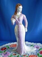 Nagyon szép porcelán hölgy, nő lila uszályos ruhában 27 cm