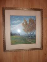 Barna M. jelzéssel: Őszi tájkép, olaj-karton