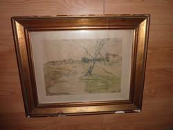 Magányos fa kopár tájban, régi akvarell jelzéssel