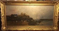 Etei Tóth Mihály: Tiszai fuvarosok (olaj, vászon; 53 × 120 cm)