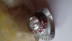 Ezüst gyűrű valódi rubinnal, hegyikristállyal!!!!!!!!!!!