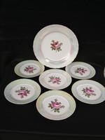 Rózsás Ilmenau porcelán 6 személyes süteményes tányér készlet