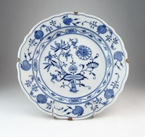0O556 Meisseni kék fehér porcelán tányér