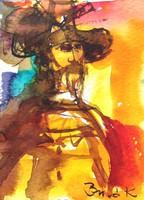 Don Quijote.ACEO ART.Kiemelkedően szép miniatűr a nemzetközileg is elismert művésztől!