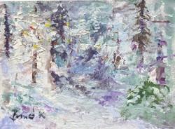 Téli erdő.ACEO ART.Kiemelkedően szép miniatűr a nemzetközileg is elismert művésztől!