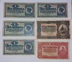 Korona bankjegyek 6 db 1920-as !!
