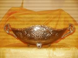 JARDINIER kináló fém/ezüstözött szőlő mintás hibátlan 34x15x9cm.