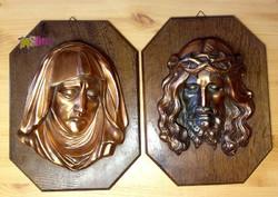 Jézus, és a Szűzanya páros dombormű fatáblán