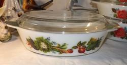 Angol tejüveg ovális  fedeles edény zöldség mintás