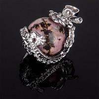 Sárkány foglalatú természetes Rodonit medál + ajándék ezüstözött lánc