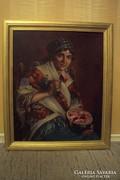 IVANÁCZ Zsolt József(1869-?) : DINNYEEVŐ MENYECSKE (antik olajfestmény)