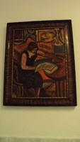 MÁRFFY-(1878-1959) szignóval---Olvasó nő---(eredeti keretében)