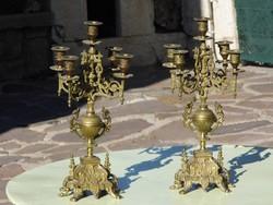 Antik gyonyoru bronz gyertyatartok