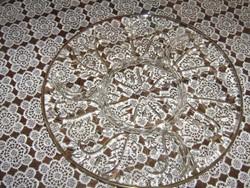 Gyönyörű vintage aranyozott szélű 4 részre osztott leveles üvegtál kínálótál süteményes nagy méretű
